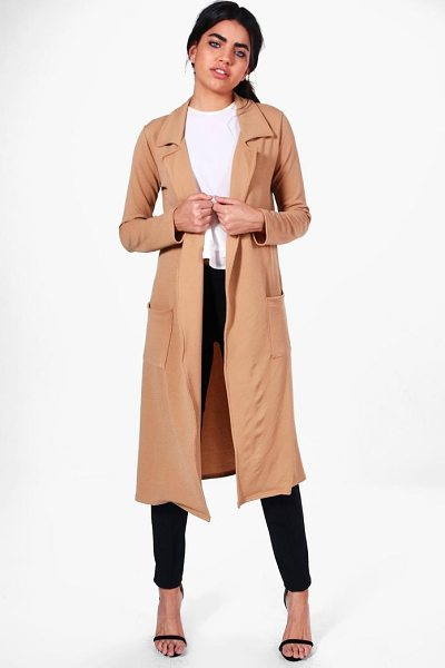 Boohoo Bella Belted Pocket Longline Duster in camel - Wrap up in the latest coats and jackets and get...