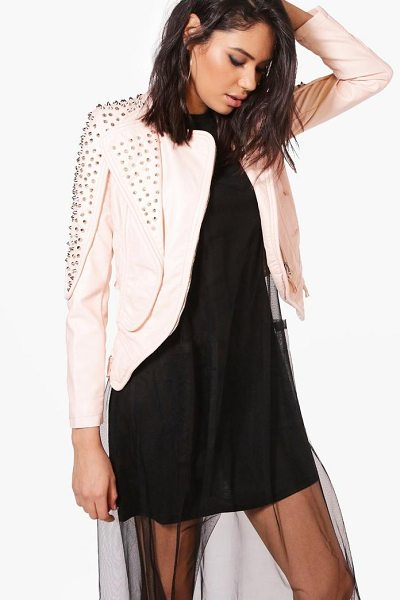 BOOHOO Bella Boutique Studded Biker Jacket - Wrap up in the latest coats and jackets and get...