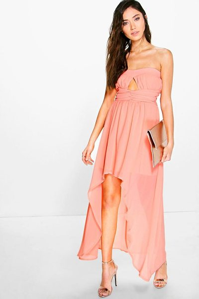 Boohoo Bella Chiffon Pleat Detail Bandeau Dip Hem Dress in blush - Dresses are the most-wanted wardrobe item for...