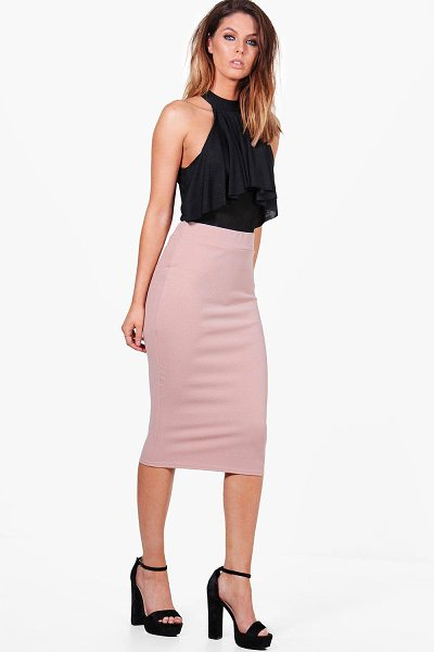 Boohoo Bella Crepe Stretch Midi Skirt in rose - Skirts are the statement separate in every wardrobe This...