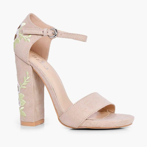 Boohoo Bella Embroidered Block Heel Two Parts in nude