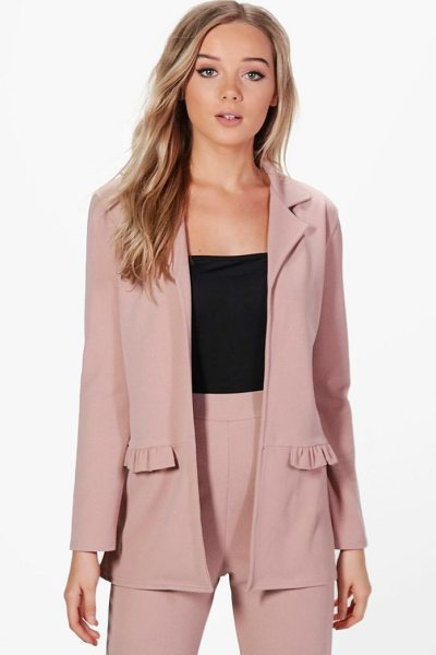 BOOHOO Bella Frill Pocket Blazer - Wrap up in the latest coats and jackets and get...