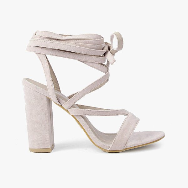 Boohoo Bella Wrap Strap Two Part Block Heel in nude - When it comes to heels, go high or go home!Send your...
