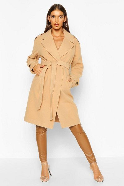 Boohoo Belted Collared Wool Look Coat in camel