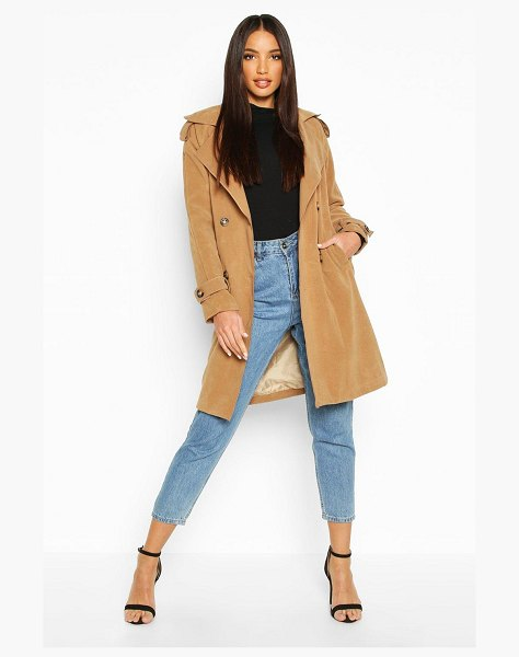Boohoo Belted Double Breasted Wool Look Trench Coat in camel