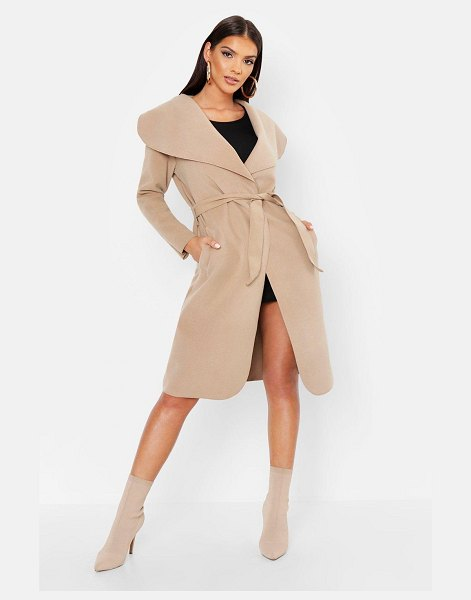 Boohoo Belted Shawl Collar Coat in camel
