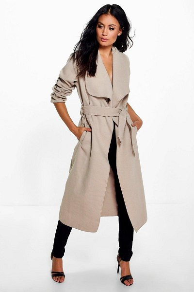 Boohoo Belted Shawl Collar Coat in stone