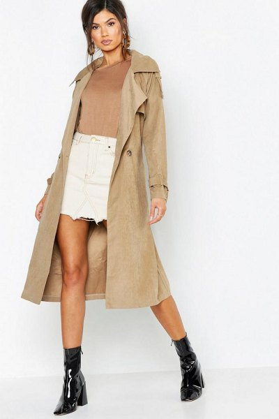 Boohoo Belted Trench in beige - Wrap up in the latest coats and jackets and get...
