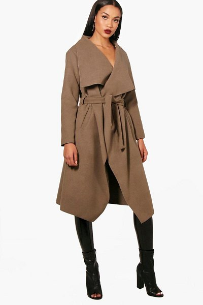 Boohoo Belted Waterfall Coat in mocha