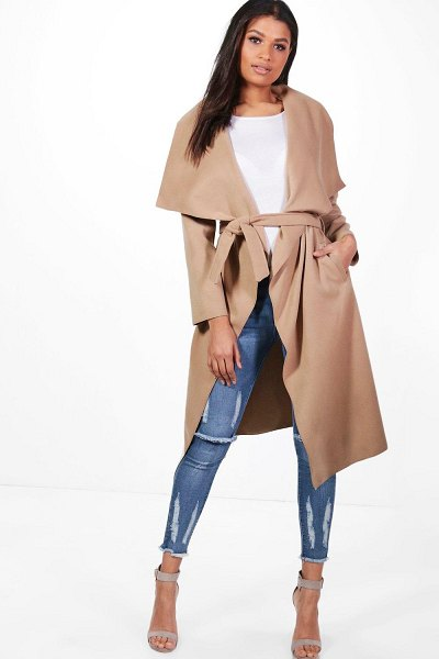Boohoo Belted Waterfall Coat in camel