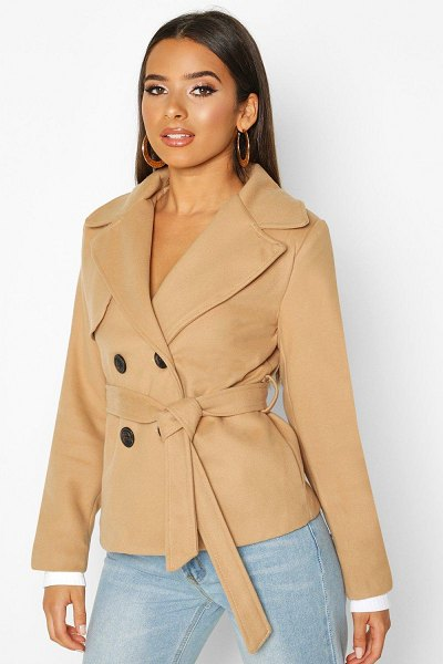 Boohoo Belted Wool Look Short Trench Coat in camel