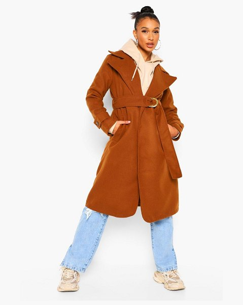 Boohoo Belted Wool Look Trench Coat in caramel