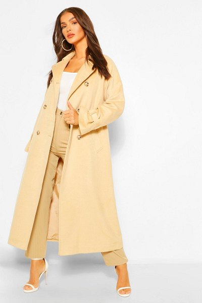 Boohoo Belted Wool Look Trench Coat in camel