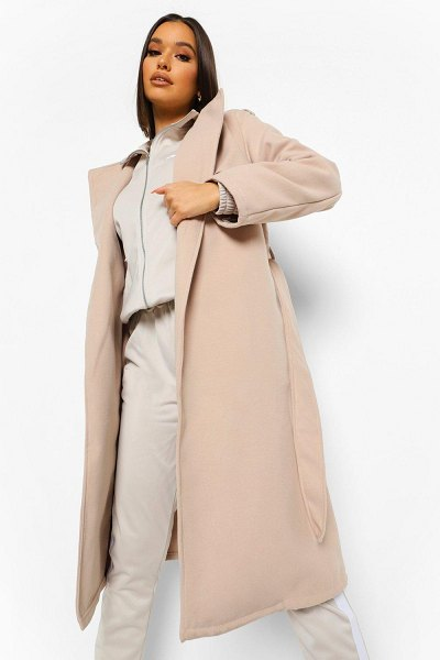 Boohoo Belted Wool Look Trench Coat in stone