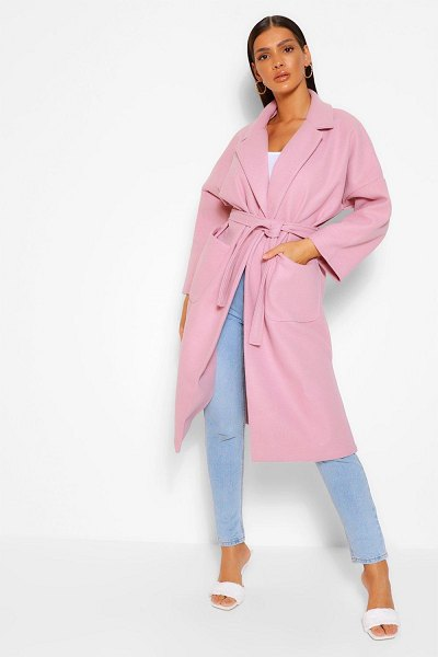 Boohoo Belted Wrap Wool Look Coat in blush