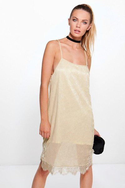 Boohoo Bethan Metallic Strappy Lace Bodycon Dress in beige - Dresses are the most-wanted wardrobe item for...