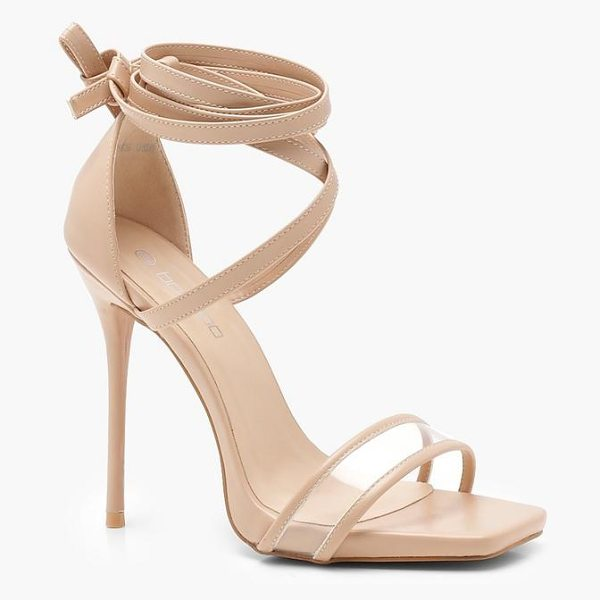 Boohoo Clear Strap Wrap Detail Heels in nude - We'll make sure your shoes keep you one stylish step...
