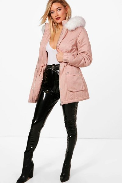 Boohoo Bethany Faux Fur Hood Pastel Parka in pink - Wrap up in the latest coats and jackets and get...