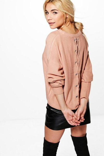 Boohoo Bethany Lace Up Back Jumper in dusky pink - Nail new season knitwear in the jumpers and cardigans...