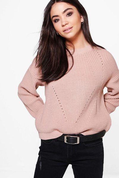 Boohoo Oversized Mix Stitch Jumper in nude - Nail new season knitwear in the jumpers and cardigans...