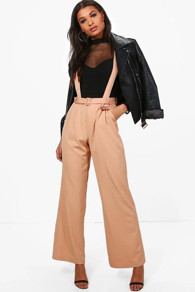 Boohoo Blake Tailored Self Belt Relaxed Trousers in blush - Trousers are a more sophisticated alternative to...