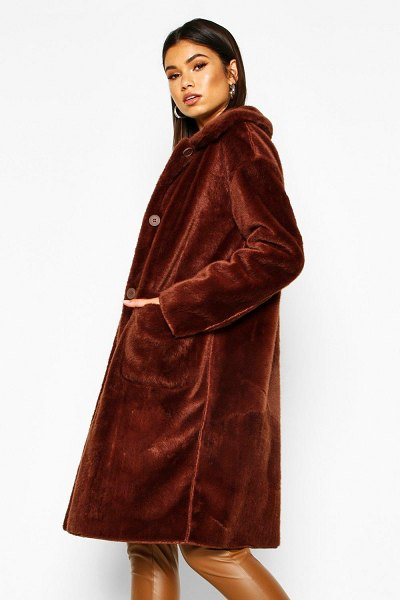 Boohoo Faux Suede Lined Button Through Faux Fur Coat in chocolate