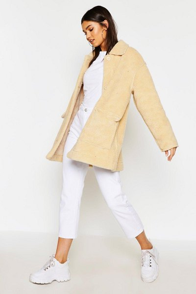 Boohoo Faux Suede Lined Teddy Faux Fur Coat in stone
