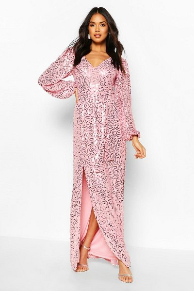 Boohoo Bridesmaid Occasion Sequin Plunge Maxi Dress in pink
