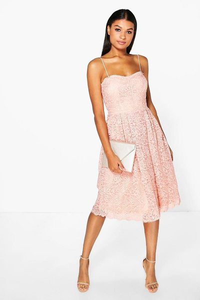 Boohoo Boutique Embroidered Strappy Midi Skater Dress in blush - Dresses are the most-wanted wardrobe item for...