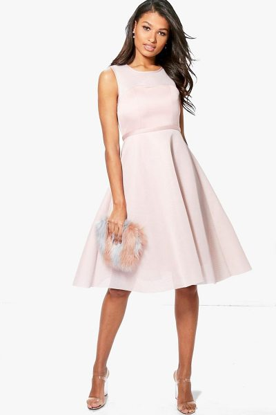 Boohoo Boutique Mesh Sweetheart Midi Skater Dress in blush - Dresses are the most-wanted wardrobe item for...