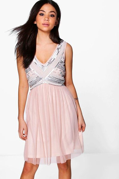 Boohoo Boutique Aimee Beaded Top Swing Dress in blush - Dresses are the most-wanted wardrobe item for...