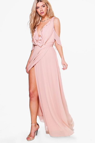 Boohoo Boutique  Chiffon Frill Wrap Maxi Dress in blush