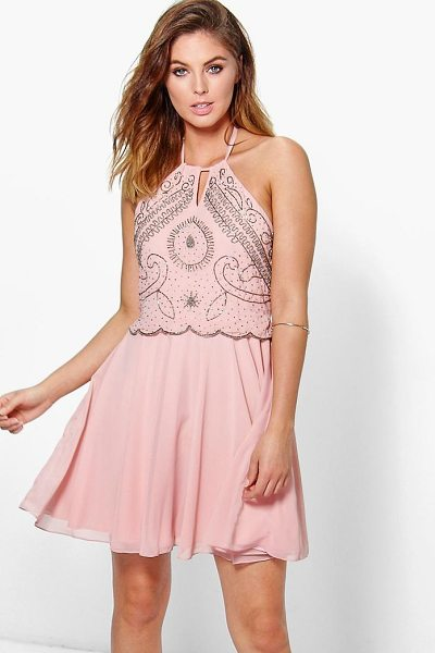 Boohoo Boutique Alessya Embellished Scallop Skater Dress in blush - Dresses are the most-wanted wardrobe item for...