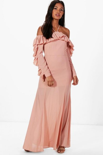 Boohoo Boutique Alex Pleated Frill Maxi Dress in blush - Dresses are the most-wanted wardrobe item for...