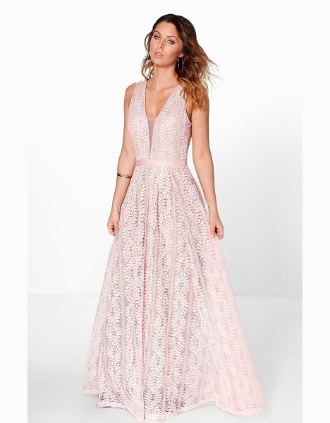 Boohoo Boutique All Lace Plunge Neck Maxi Dress in pink