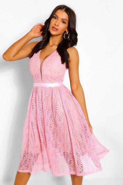 Boohoo Boutique All Lace Plunge Neck Midi Dress in pink