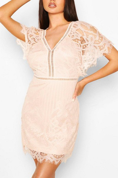 Boohoo Boutique All Over Lace Bodycon Dress in blush