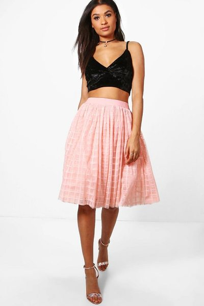 Boohoo Boutique Amala Grid Tulle Full Midi Skirt in blush - We're all about bringing you fun and flattering shapes...