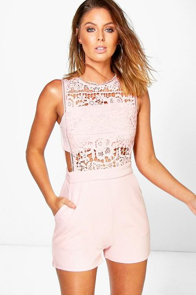Boohoo Boutique Amy Crochet Barely There Playsuit in blush - Perfect for day or play, a playsuit will solve...