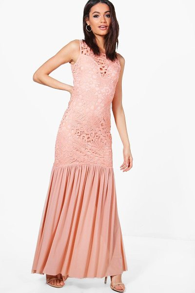 Boohoo Boutique Crochet Peplum Maxi Dress in blush - Dresses are the most-wanted wardrobe item for...