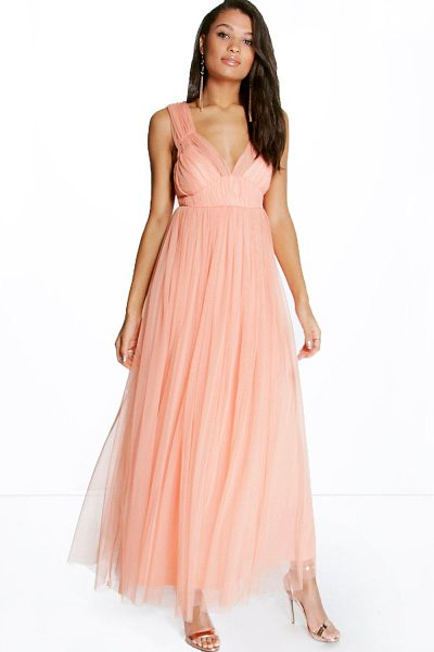 Boohoo Boutique Anya Seam Detail Tulle Maxi Dress in peach - Get dance floor-ready in an entrance-making evening...