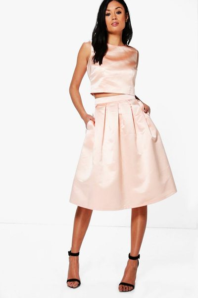 Boohoo Boutique Arayah Box Pleat Satin Skater Skirt in peach - Skirts are the statement separate in every wardrobe This...