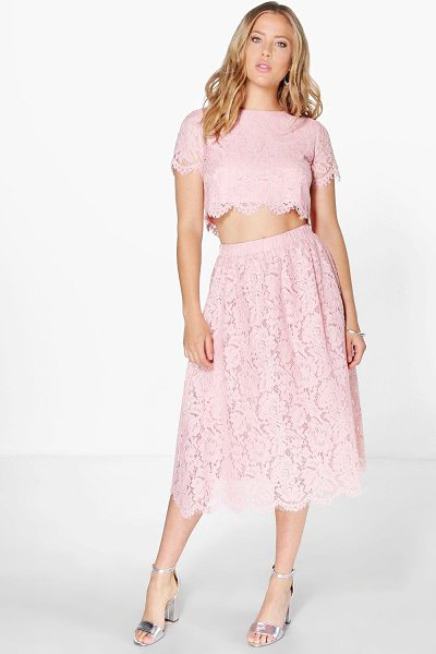 Boohoo Boutique Aria Lace Midi Skirt Co-Ord Set in blush - Co-ordinates are the quick way to quirky this seasonMake...