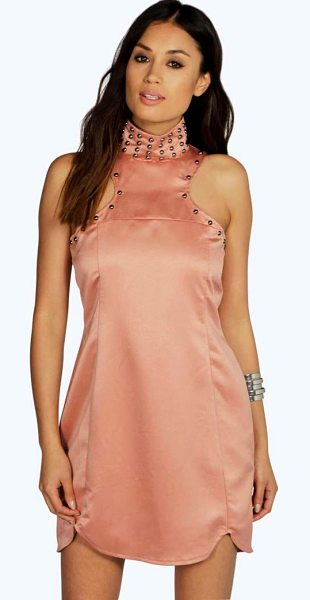 Boohoo Boutique Audrey Stud Detail High Neck Shift Dress in blush - Dresses are the most-wanted wardrobe item for...