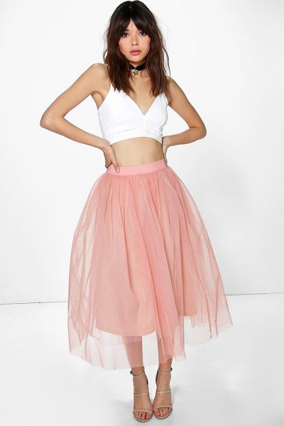 Boohoo Boutique Aya Tulle Full Midi Skirt in blush - Party with your pins out in a statement evening...