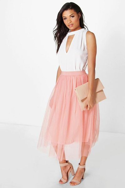 Boohoo Boutique Aya Tulle Full Midi Skirt in peach - Skirts are the statement separate in every wardrobe This...