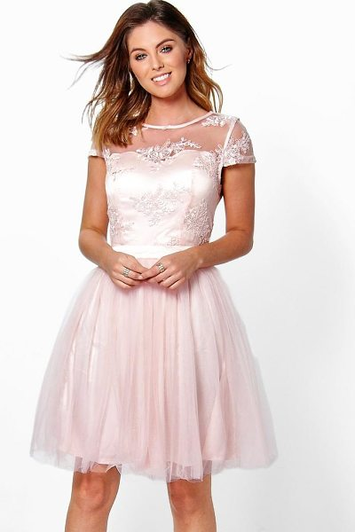Boohoo Boutique Ayra Embroidered Mesh Skater Dress in pink - Dresses are the most-wanted wardrobe item for...