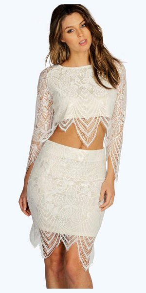 Boohoo Boutique Bettina Premium Contrast Lace Skirt in cream - Party with your pins out in a statement evening...