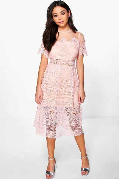 Boohoo Boutique Cary Lace Mesh Midi Skater Dress in nude - Every girl's wardrobe should include a skater dress. A...