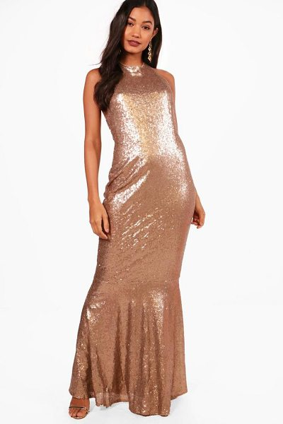 Boohoo Boutique Celia Sequin Open Back Maxi Dress in gold - Dresses are the most-wanted wardrobe item for...